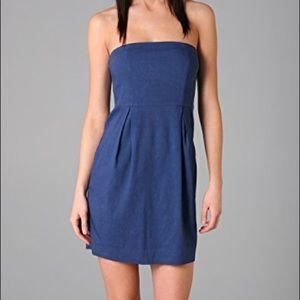 Theory Strapless Blue Tyrah Dress